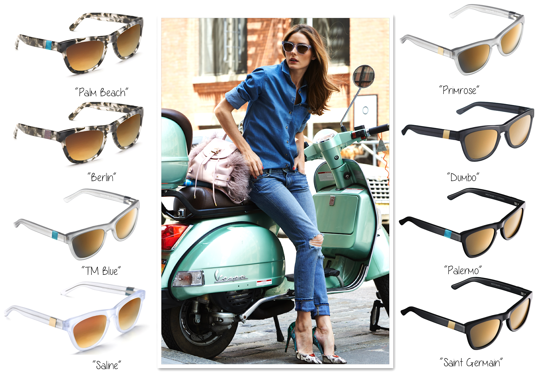 Westward Leaning Sunglasses Olivia  olivia palermo sunglasses pink the town