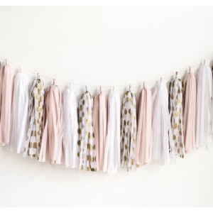 blush gold tissue garland