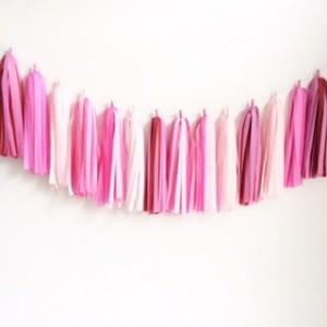 pink tissue garland
