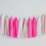 tissue garland tickled pink