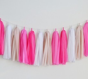 tissue garland tickled pink