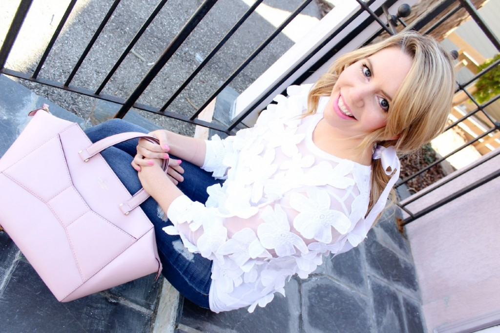 pink the town ann taylor sheer petal sweatshirt