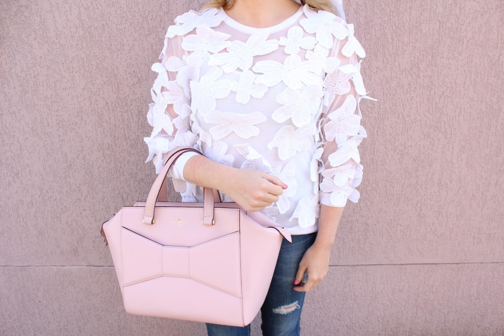 ann taylor sheer petal sweatshirt pink the town kate spade pink beau bag