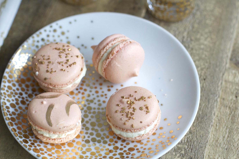 pink gold parisian macarons