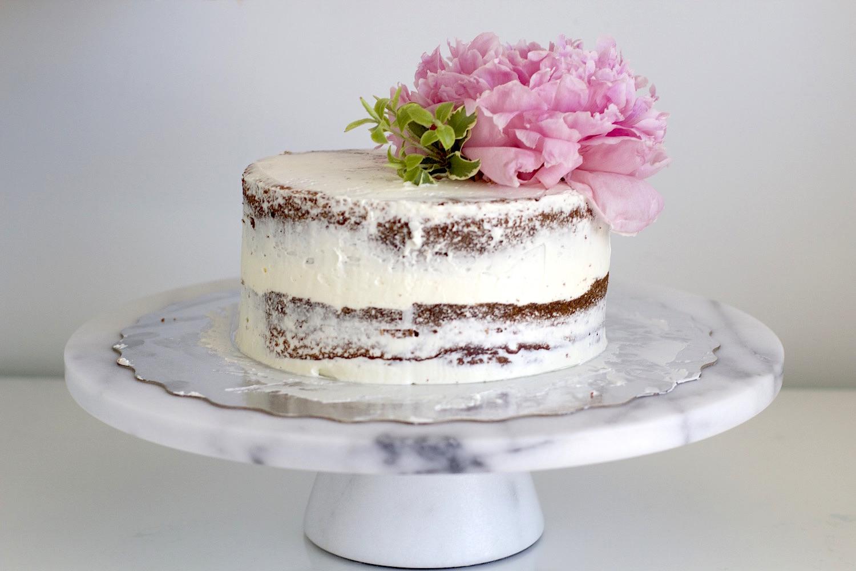 peony naked cake